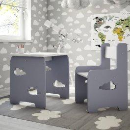 Stůl a židle mráček šedá