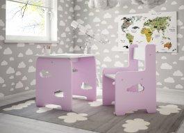zväčšiť obrázok Stol a stolička mráčik - růžová