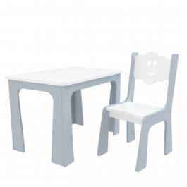 Stůl a židle opěrka - mrak šedo bílá