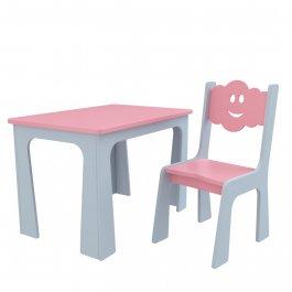 Stůl a židle opěrka - mrak šedo-růžová