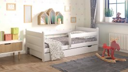 Dětská postel 180x80 cm Daduš + šuplík + matrace - bílá