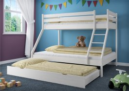 Patrová postel Denis bílá+ rošty + matrace + šuplík