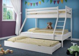 Patrová postel Denisek bílá+ rošty + matrace a šuplík