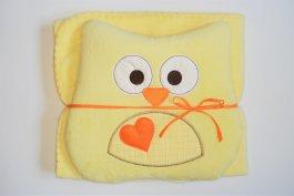 zväčšiť obrázok Detská deka + vankúšik Coral sova 80x90 cm - žlutá