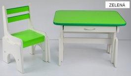 Stůl + židlička B1 - regulace výšky zelená