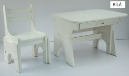 Stůl + židlička - B1 regulace výšky bílá