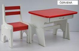 Stůl + židlička B1 - regulace výšky červená