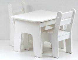 zväčšiť obrázok Stol a stoličky zo zásuvkami - K2 biela