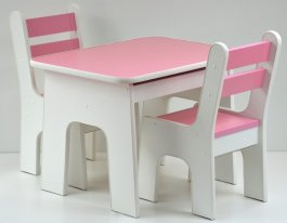 Stůl +židličky se šuplíky K2 růžová