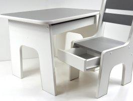 Stůl +židličky se šuplíky - K2 grafit