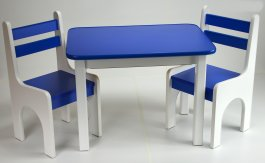 Stůl a dvě židličky K1 - modrá
