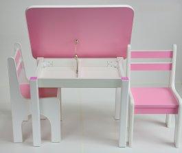 Stůl a dvě židličky K1 - růžová