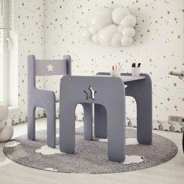 Stůl a židle hvězdička šedá