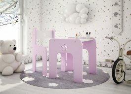 Stůl a židle hvězdička růžová
