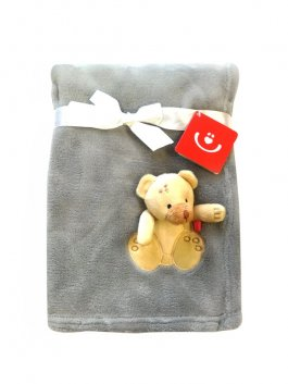 Dětská deka a 3D aplikací - šedá