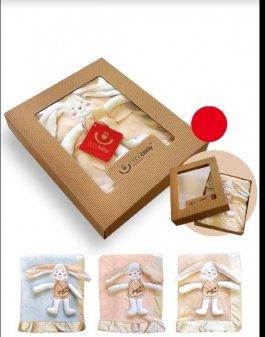 Dětská deka 3D - béžová - dárkové balení