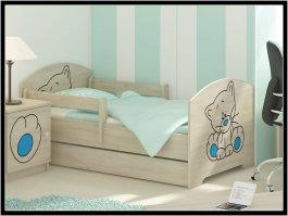 zväčšiť obrázok Posteľ 160/80 cm + matrac + rošt kočička modrá dub sonoma