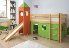 Zvětšit Patrová postel Lilia 90x200 cm skluzavka+rošt+matrace