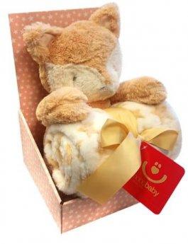 Dětská plyšová deka + hračka - liška