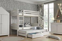 Zvětšit Patrová postel Lukáš 3-lůžko + matrace + šuplíky, masiv smrk - bílá