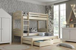 zväčšiť obrázok Poschodová posteľ Lukášek 3-lôžko + matrace + šuplíky - masív smrek