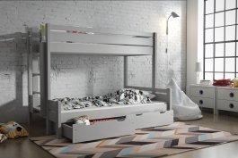 Zvětšit Patrová postel Jarek 80/200 cm + 120/200 cm + matrace + zásuvky - šedá
