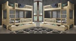 Patrová postel Matyáš 90/200 cm + matrace + šuplík - masiv smrk