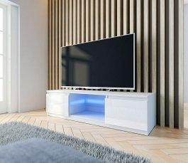 RTV stolek 140 cm - bílá lesk + LED osvětlení