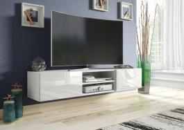 Závěsná TV skříňka 120 cm bílá lesk