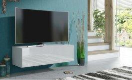 Závěsná TV skříňka 100 cm bílá lesk
