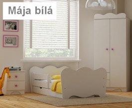 Postel Mája bílá 180/90 cm + matrace + šuplík