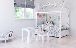 Stůl a židle opěrka - míč šedo bílá