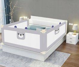 Zábrana na postel Méďa-160 cm šedá