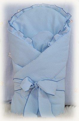 Zavinovačka vázaná s mašlí - modrá