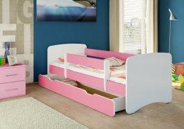 Postýlka Niko 180x80 se šuplíkem a matrací - růžová