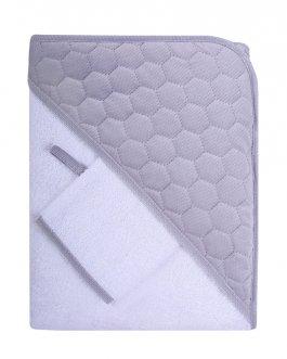 Dětská osuška s kapucí Velvet 100x100 cm + žínka bílo-šedá