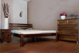 Postel Klára 140x200 cm ořech masiv borovice + matrace Superflex