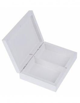 Krabička dřevěná 16x12,5x4 cm na magnet - bílá -2