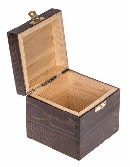 Krabička dřevěná 13,5x13,5x10,7 cm - temný bronz - zapínání