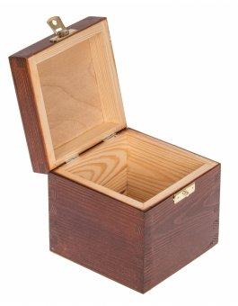 Krabička dřevěná 13,5x13,5x10,7 cm - ořech - zapínání
