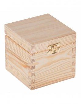 Krabička dřevěná 13,5x13,5x10,7 cm - zapínání