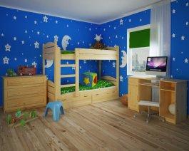 Patrová postel Péťa 80/200 cm + matrace + šuplíky + rošt