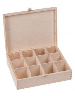 Krabička dřevěná na čaj 22,5x28,5x8 cm zapínání
