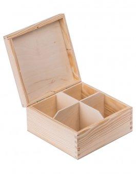 Krabička dřevěná na čaj 16,5x16,5x8 cm