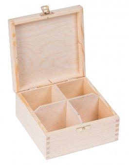 Krabička dřevěná na čaj 16,5x16,5x8 cm zapínání