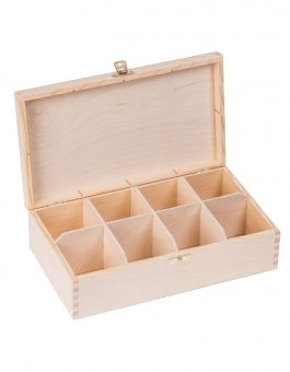 Krabička dřevěná na čaj 16,5x28,5x8 cm zapínání
