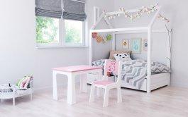 zväčšiť obrázok Stol a stolička opierka méďa růžovo-bílá