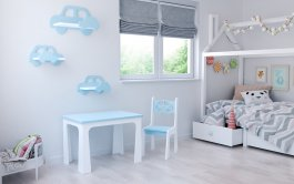 Stůl a židle opěrka auto modro-bílá