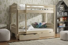 Patrová postel Petr 90/200 cm + matrace + šuplík masiv