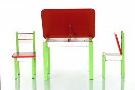 Stůl a dvě židličky ST1 červeno-zelená